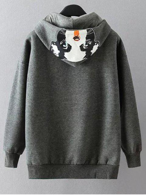 latest Casual Cartoon Print Hoodie - GRAY XL Mobile
