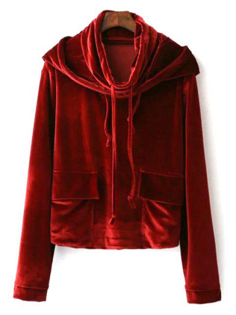 outfit Cropped Velvet Hoodie - WINE RED M Mobile