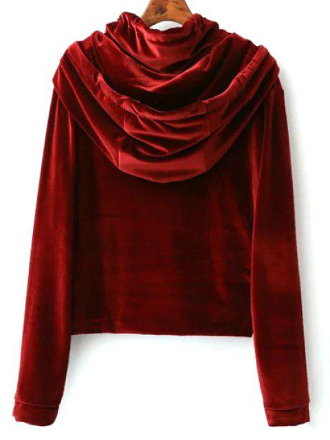 hot Cropped Velvet Hoodie - WINE RED L Mobile