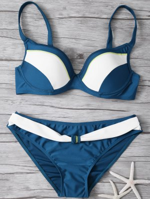 Color Block Froncée Bikini Set - Bleu Cadette S