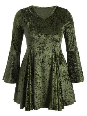 Vestido De Terciopelo Con Vuelo Con Cuello En V Con Manga Acampanada - Verde Xl