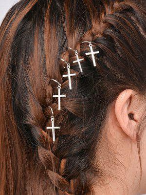5 PCS Adorn Crucifix Hair Accessories - Silver