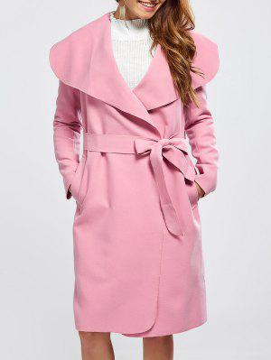 Shawl Collar Belted Wrap Coat - Pink S