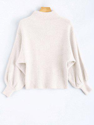 Ribbed Puff Sleeve Mock Neck Sweater - White