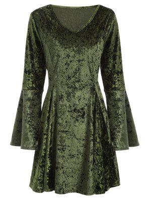 Vestido De Terciopelo Y Mangas De Campana - Verde S