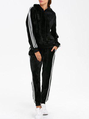 Hoodie et pantalon de sport à rayures aux côtées en velours