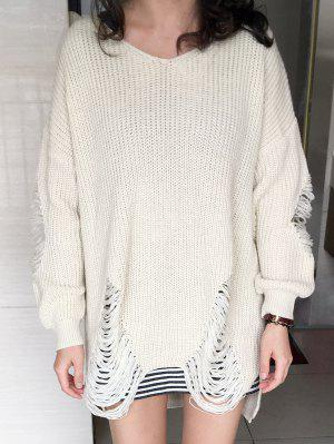 Loose High Low Ripped Pullover Sweater - Glitter Creamy White 3xl