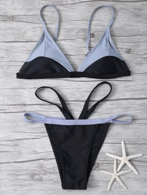 High Cut Color Block Bathing Suit - Black L