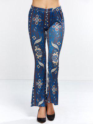 Floral Bell Bottom Pants - Purplish Blue M