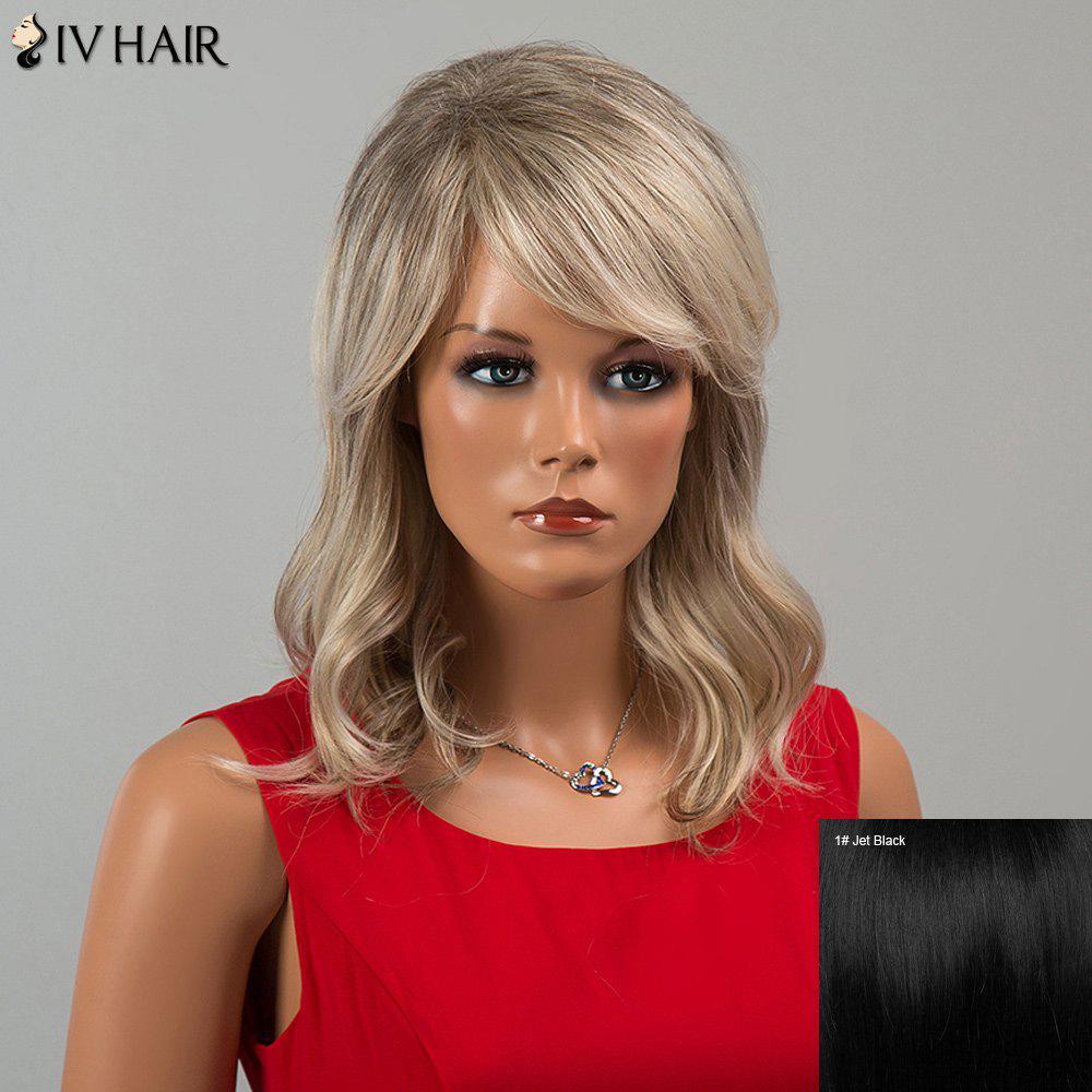 Siv Cheveux mi Incliné Bang Wavy perruque de cheveux humains