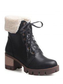 Lace Up Platform Round Toe Ankle Boots - Black 39