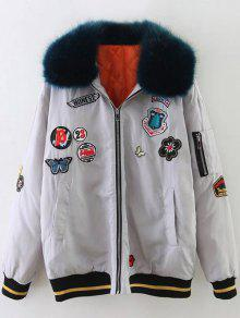 Furry Collar Patch Padded Bomber Jacket - Silver Xs