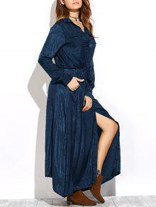 Long Sleeves Maxi Shirt Dress - PURPLISH BLUE M