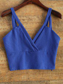 Plunge Cropped Tank Top - Blue 2xl