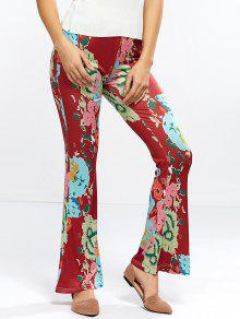 Flower Bell Bottom Pants - Wine Red M