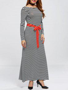 V Back Belted Striped Maxi Dress - Stripe M