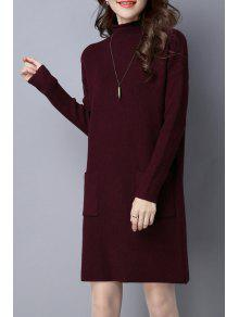 فستان محبوك عالية الرقبة بجيب - عنابي اللون