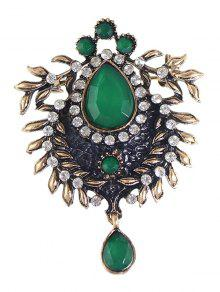 Enamel Faux Gem Scorpion Brooch - Green