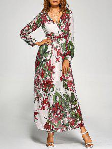 فستان ماكسي شيفون طباعة الأزهار طويلة الاكمام - أبيض M