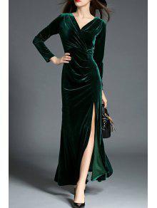 فستان السهرة عالية الانقسام مطوي غارق الرقبة - مسود الخضراء L