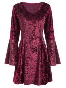 Bell Sleeve Fit And Flare Velvet Dress - Burgundy Xl