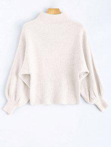 Ribbed Puff Sleeve Mock Neck Sweater - White