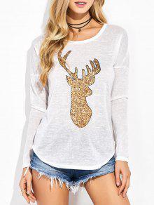 Sequins Elk Graphic Tee - White M
