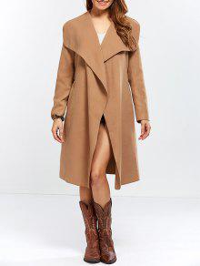 Shawl Collar Belted Wrap Coat - Camel L