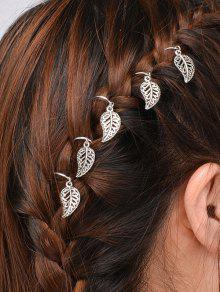 5 PCS Adorn Leaves Hair Accessory - Silver