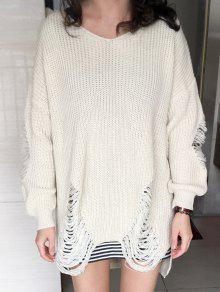 Loose High Low Ripped Pullover Sweater - Glitter Creamy White Xl