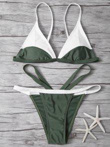 Ensemble De Bikini Découpé En Couleure Unie  - Vert Armée L