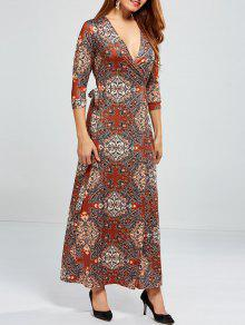 Low Cut Print Maxi Wrap Dress - S