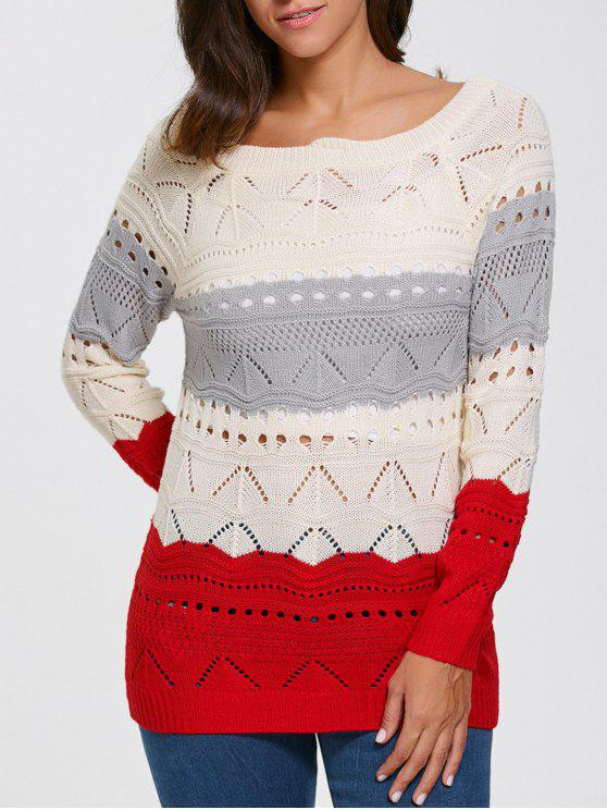 chic Pullover Hollow Out Color Block Sweater - PALOMINO S