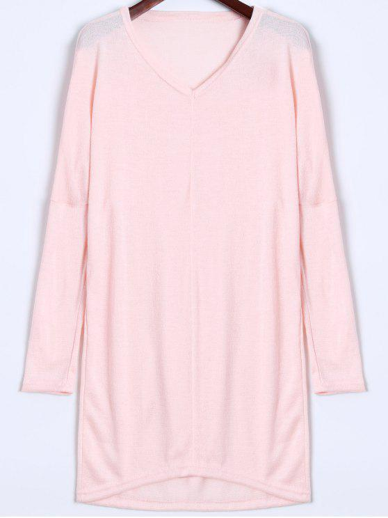 V Neck Sweater manica a pipistrello - Rosa XL