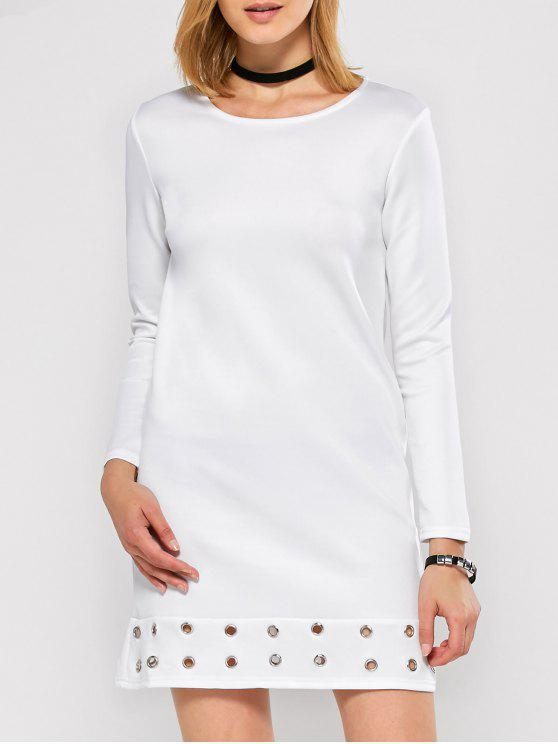 best Long Sleeve Jewel Neck Hollow Out Dress - WHITE M