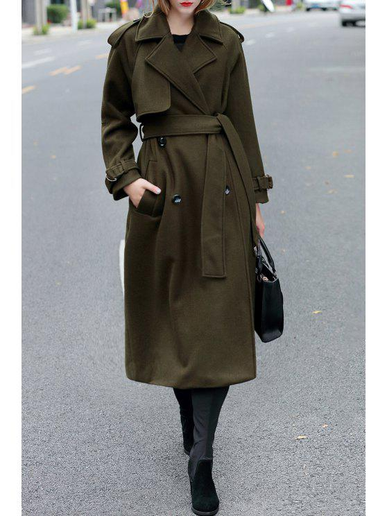 b69804eb8db 29% OFF  2019 Double Breasted Maxi Wool Coat With Belt In ARMY GREEN ...