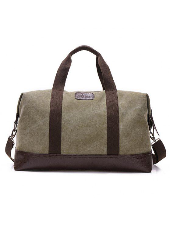 ace3a62482 2018 PU Leather Insert Canvas Weekend Bag In ARMY GREEN
