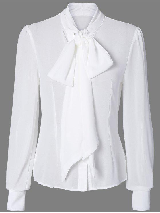 30d52e9509f5d1 32% OFF  2019 Pussy Bow Semi Sheer Blouse In WHITE
