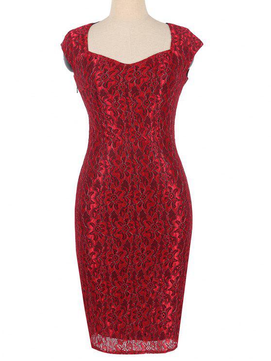 فستان ضيق ملائم طباعة الأزهار - أحمر 3XL