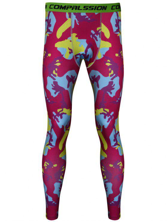 Los pantalones de gimnasia de camuflaje Impreso Skintight de secado rápido - Amarillo y rojo L