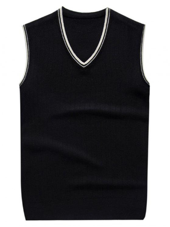 gilet tricoté à col V en deux couleurs contrastes - Noir L