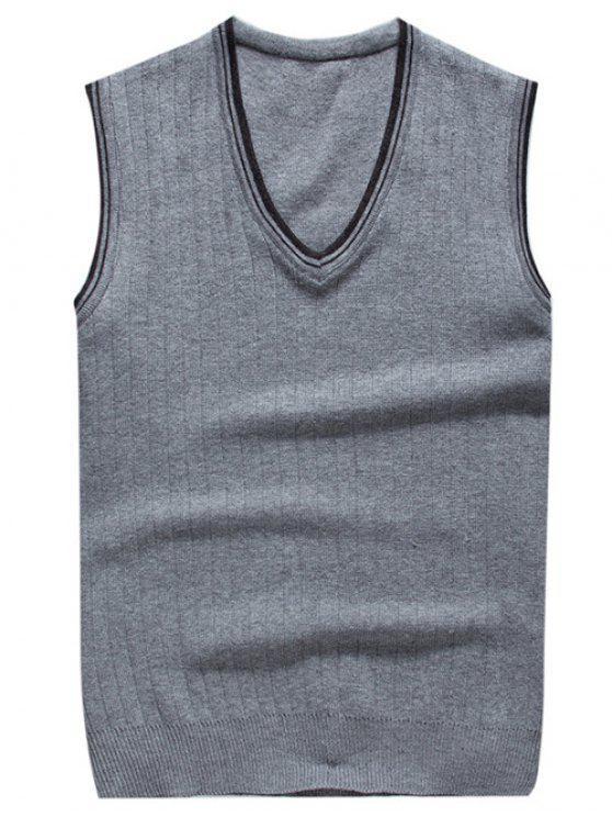 gilet tricoté à col V en deux couleurs contrastes - Gris Clair M