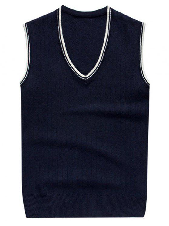 gilet tricoté à col V en deux couleurs contrastes - Bleu Foncé 2XL