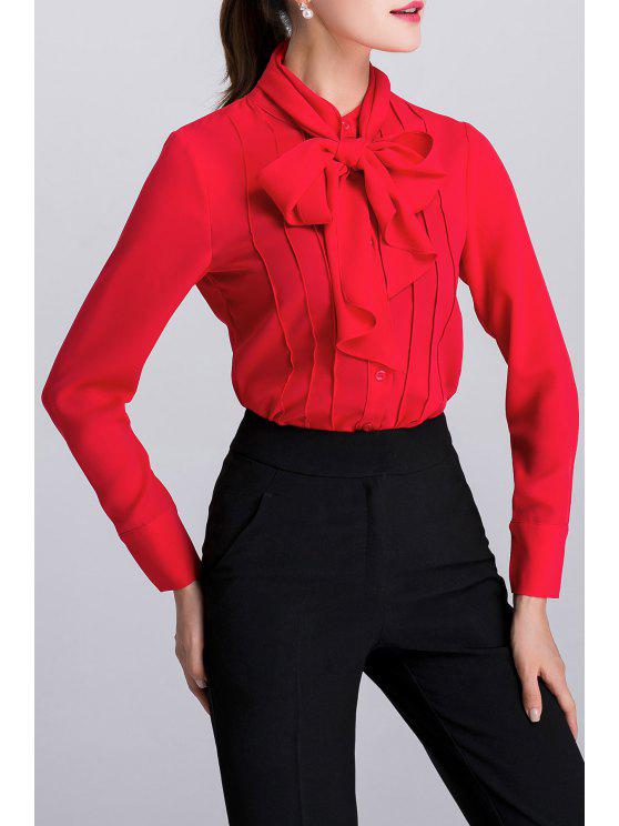 10f41d4b19097 30% OFF  2019 Pussy Bow Tie Long Sleeve Blouse In RED M