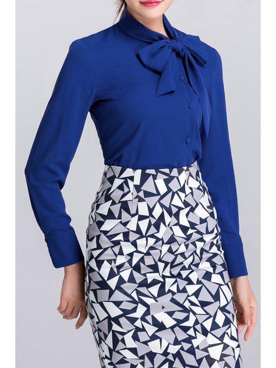 415d62141a9aef 25% OFF] 2019 Long Sleeve Bow Tie Blouse In BLUE | ZAFUL