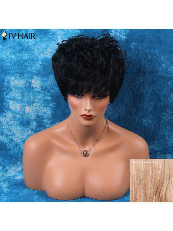 Parrucca dei capelli umani corti stratificata Shaggy laterale Bang ricci Siv - Bruno con Biondo