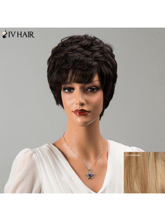 Siv Cabello corto explosión lateral Fluffy peluca ondulada del pelo humano - Rubia