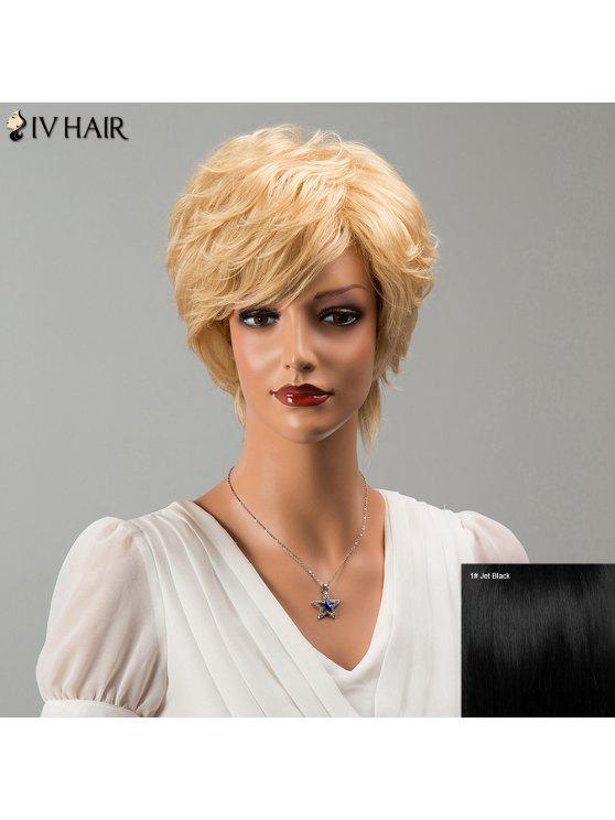 Siv Cabello corto explosión lateral Fluffy ligeramente encrespada peluca de cabello humano - NEGRO AZABACHE 01#