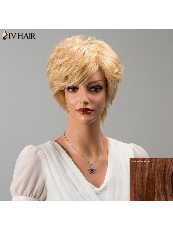 Siv Cabelo Curto Side bang Fluffy um pouco enrolado peruca de cabelo humano - 30#