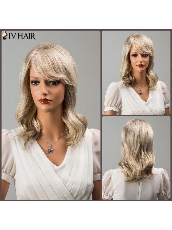 Médio Shaggy Side bang ondulado Colormix Siv peruca de cabelo humano - Cor Mistura